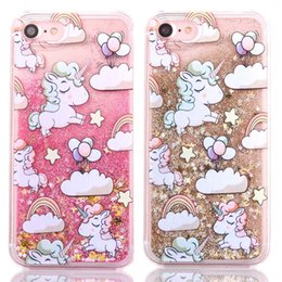 Chinese  Cute Cartoon Unicorn Glitter Star Dynamic Liquid Quicksand Phone Cases For iPhone X Case for Iphone 6 6S 7 8 Plus 5 5S 5C 4 4S manufacturers