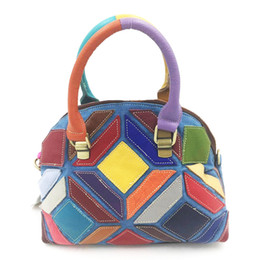 3af2d860cb86 Winner 2018 Genuine Leather Bag Women Cow Leather Tote Bag Fashion Shell Colorful  Handbag Patchwork Color Lady Handbag New