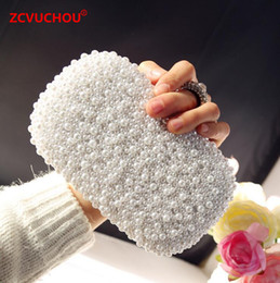 Hand Chain Ring Australia - Hand made Luxury Pearl Clutch bags Women Finger Ring Handbag Purse Diamond Chain white Evening Bags for Party Wedding Bolsa Fem