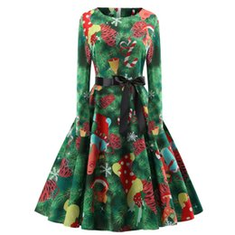 $enCountryForm.capitalKeyWord UK - Print Party Dresses for Teens Christmas Vintage Dress High Waist Black Silk Ribbon Casual Pleated Dresses