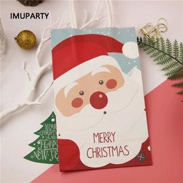 $enCountryForm.capitalKeyWord Canada - 30pcs set Merry Christmas Paper Bag With Handles Gift Favors Packing Bags Santa Claus Christmas Tree Handbag Event Party Supply