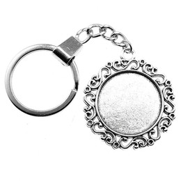 lock for mans balls NZ - 6 Pieces Key Chain Women Key Rings Fashion Keychains For Men Retro Peace Inner Size 25mm Round Cabochon Cameo Base Tray Bezel Blank
