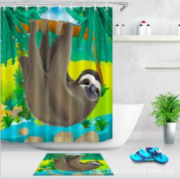 cat shower curtains NZ - Sloth Waterproof 3D Print Shower Curtain Animal Polyester Bathroom Decor Cat Decoration 2018 Bath Curtain Gift