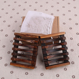 Retail tRay online shopping - 2pcs set Vintage Wooden Soap Dish Plate Tray Holder Wood Soap Dish Holders Bathroon Accessories Shower Hand Washing Retail Box WX9