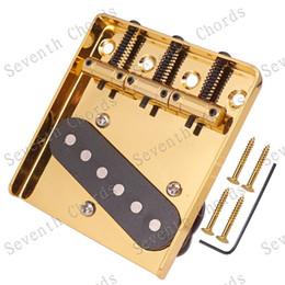 $enCountryForm.capitalKeyWord NZ - QHX Musical instrument gold 6 Flat Saddle Guitar Bridge & Pickup for Electric guitar accessories parts (3 Screws hole)