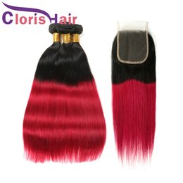 Discount dark red hair weave - Dark Root Red Straight Ombre Human Hair Bundles Raw Indian Peruvian Virgin Hair Weaves With Lace Closure Colored 1B Red