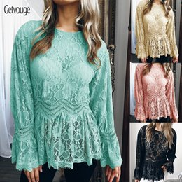 c1ad76bbb93f3f Getvouge Women's Autumn Plus Size Patchwork Blouse Long Sleeves O-Neck  Loose Lace Shirts Tops Vintage Bandaged Winter Base Shirt