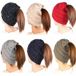 Discount christmas crochet gifts Christmas Gift Women Kids CC Ponytail Caps CC Knitted Beanie Fashion Girls Winter Warm Hat Back Hole Pony Tail Autumn Ca