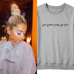 "gothic clothing brands NZ - Print Letter ""No Tears Left To Cry"" Ariana Grande Sweatshirt Wonen Print Hoodie Brand Clothing Popular Cotton Gothic Shirts Tops S18101006"