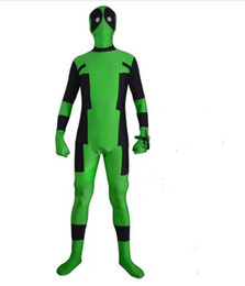 Wholesale deadpool spandex costume for sale – halloween NEW Green And Black Deadpool Costume Halloween Superhero Lantern Deadpool Costume