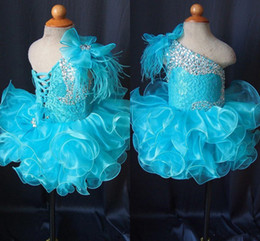 Cupcake Blue Australia - Toddler Pageant Dresses Blue One Shoulder Lace Up Cupcakes Girl Pageant Gowns Crystal Beaded Lace Organza Ruffles Little Kids Prom Dress