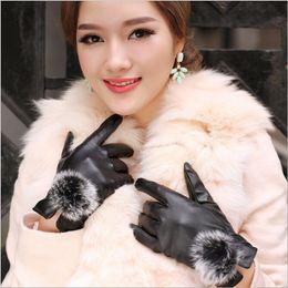 Leather Gloves For Men Australia - 1 Pair 2017 Beautiful Rabbit Fur Ball PU Leather Gloves For Winter Gloves Brand Mitten Luvas Women Female