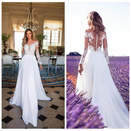 China Sheer Long Sleeves Lace Appliques Chiffon A-Line Wedding Dresses 2018 Split Side Garden Bridal Gowns Custom Online Vestidos De Novia cheap make wedding dress online suppliers