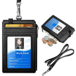 $enCountryForm.capitalKeyWord NZ - Leather ID Badge Card Holder Wallet with 5 Card Slots RFID Blocking Pocket Neck Lanyard Strap for Offices ID School
