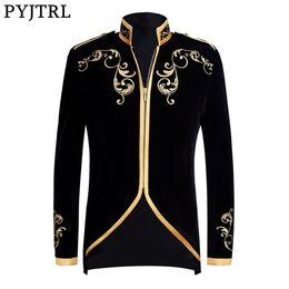 Wholesale PYJTRL British Style Prince Fashion Black Velvet Gold Embroidery  Blazer Wedding Groom Slim Fit Suit 1ced62500