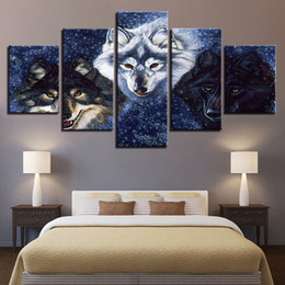 $enCountryForm.capitalKeyWord Australia - Modern Canvas Posters Framework Wall Art HD Prints Abstract Pictures 5 Pieces Animal Wolves Paintings Home Decor For Living Room