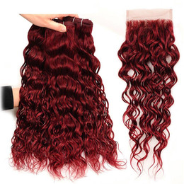 Burgundy Wet Wavy Hair Australia - #99J Burgundy Malaysian Water Wave Human Hair 3 Bundles With 4x4 Lace Closure 4Pcs Wine Red Mink Wet and Wavy Virgin Hair Weave