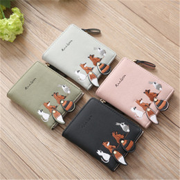 lovely korean cartoon girl NZ - Fashion Women's Wallet Lovely Cartoon Animals Short Leather Female Small Coin Purse Hasp Zipper Kid Purse Card Holder For Girls
