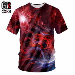 1819c32e OGKB New Fashion Men women 3d T-shirts Print Red Galaxy Space Unisex Short  Sleeve O Neck Hiphop Punk Tshirt Casual Tee Shirt