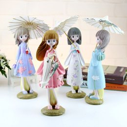 Japanese silicone toy girls online shopping - 2pcs Creative H cm Japanese Kimono Umbrella Girl Resin Figurines Ornaments Gifts Toys Girl Gift Students Bedroom Decoration