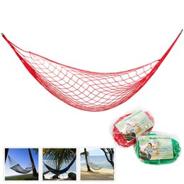 camps hammock swing Canada - Portable Mesh Hammock Nylon Hanging Net Sleeping Bed Outdoor Travel Camping Garden Swing Strong Meshy Hammocks Free Shipping