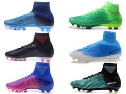 4a804e0d0f7c Assassin 11 High Mercurial V FG Men Soccer Superfly Trainer Sneakers ACC  Waterproof LIGHT AQUA Football Shoes Size 39-45