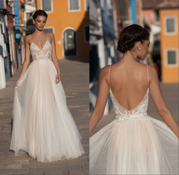 Wholesale sexy boho skirts resale online - New Boho Sexy Beach Wedding Dresses Sleeveless Spaghetti Straps Robe De Soiree Backless Long Brdial Gowns