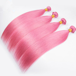 Wholesale Hot Selling Pink Color Brazilian Silky Straight Hair Bundles Unprocessed Pink Color Human Hair Weft Extensions Bundles For Woman