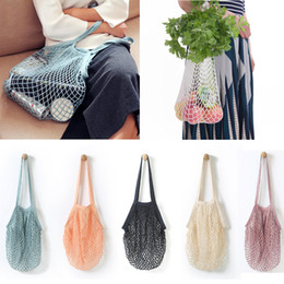 Hand Bags Types Australia - fashion String Shopping Fruit Vegetables Grocery Bag Shopper Tote Mesh Net Woven Cotton Shoulder Bag Hand Totes home Storage bag c560