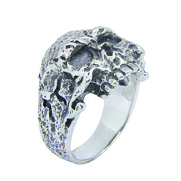 Men Size 15 Rings Australia - Free Shipping 925 Sterling Silver Biker Skull Ring Fashion Jewelry Size 7-15 Men Boys Demon Skull Cool Ring