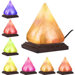 salt lamp wholesale Australia - Pyramids Wooden Table Desk Himalayan Salt Lamp Air Purifier Crystal Salt Rock USB Colorful Night Light For Study Bedroom LLFA