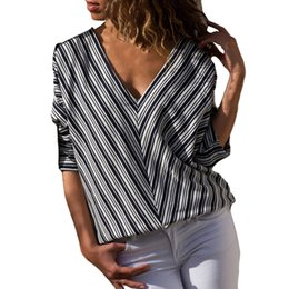 5faab3740976 CHAMSGEND Womens Fashion Patchwork Long Sleeve Navy Blue Stripe Bat Blouse Women  Casual Tank Tops Shirt Blouse Au2