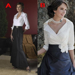 Mother bride skirts 24w online shopping - Vintage White and Black Skirt Mother Of The Bride Dresses Long Sleeves Custom Elegant Formal Weeing Guest Gowns