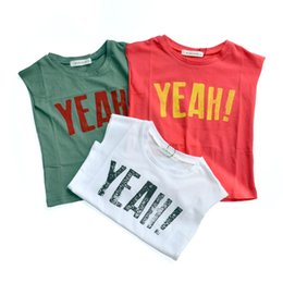 Tops Girl Shirt Design Canada - Yeah Print Boys Tops Summer T -Shirts Cotton Girls Candy Tshirts Children Tops Tiny Cotton Tees Shirts 2017korean Design Tanks