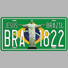 Paint Art 3d NZ - Jesus Brazil BRA 1822 Super Hot 3D Emboss Retro License Plates Vintage Tin Sign Art Wall Plaque decor Home Metal Painting Bar Pub