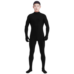 ingrosso costume unitale di zentai-Ensnovo Men Lycra Spandex Suit Dolcevita Nero Unitard One Piece Full Body Personalizzato Skin Tight No Head Unisex Costumi Cosplay