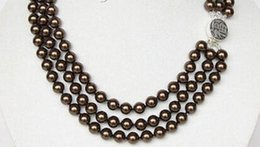 coffee pearl Australia - 3row 8mm round dark coffee sea shell pearls necklace 925 silver clasp