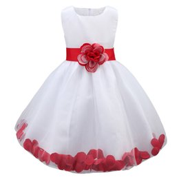 infant tutu pageant dresses UK - Kids Infant Girls Flower Petals Dress Children Bridesmaid Toddler Elegant Dress Pageant Wedding Bridal Tulle Formal Party Dress