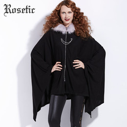 gothic trench coats 2019 - Rosetic Gothic Cloaks Christmas Black Women Winter Outwear Coats Bat Trench Fashion Poncho Witch Vampire Harajuku Goth C