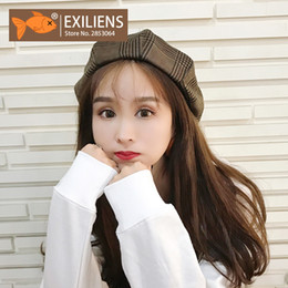 f30af1822afd9 EXILIENS Brand New Autumn Winter Women Berets Hat Woman Hats Beret Cotton  Cap Keep Warm Plaid Painter Street Tide 082902