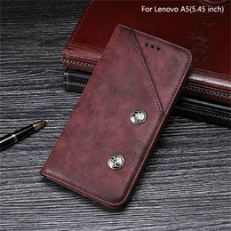 Discount lenovo holder - For Lenovo A5 Case 5.45 inch Vintage Magnetic Flip PU Leather Case For Lenovo A5 Retro Cover With Card Slot Stand Holder