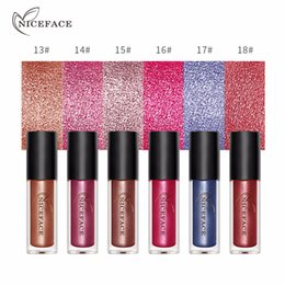 Discount ladies lipstick waterproof - NICEFACE 6 Colors Diamond Shine Metallic Shimmer Liquid Lipstick Waterproof Long Lasting Lady Fashion Sexy Lip Gloss Cos