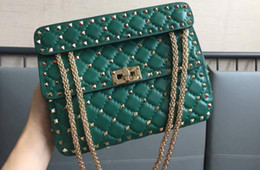 Color Leather Bags Australia - Hot Sell Style Imported First Layer Lambskin Genuine Leather Eighteen Color 24cm Top Quality with Light Gold Rivet Women Cross Shoulder Bag