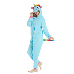 China Golden Horn Blue Unicorn Onesies Adult Animal Shark Pajamas Lemur Sleepwear Pikachu Pyjamas Carnival Cosplay Costumes cheap golden cosplay suppliers