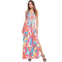 7e2ce5c1324 Амазонка онлайн-2018 Лето Европейский и американский Женская одежда Amazon  Beach Fork длинное платье печатных