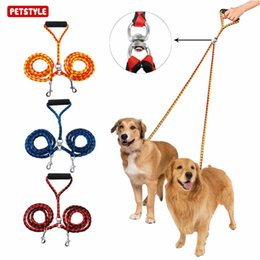 Small cartoon couple online shopping - Dog Collar Belt Double Dog Leash Braided Tangle Dual Leash Couple For Walking Training Two Dogs Double Headed Traction Rope