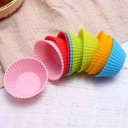 Cupcake Muffins Cake Australia - 7cm Silica gel Liners cake baking mold silicone muffin cup baking cups cake cups cupcake DHL free shipping