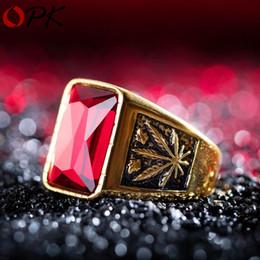 Nuovi anelli punk prepotenti in acciaio al titanio con foglia d'acero per uomo Blood Red White / oro / cinturini in zirconi neri intarsiati con zirconi maschili