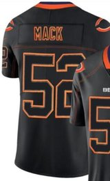 Мужчины Чикаго 52 Джерси Вышивка и 100% сшитые 2018 Огни из черного цвета Rush Limited Футбольные майки