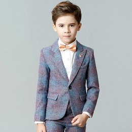 Kids Linen Suits Canada - boys suits performance clothes gentleman style party dinner formal suits for 3-12 years kids children clothes